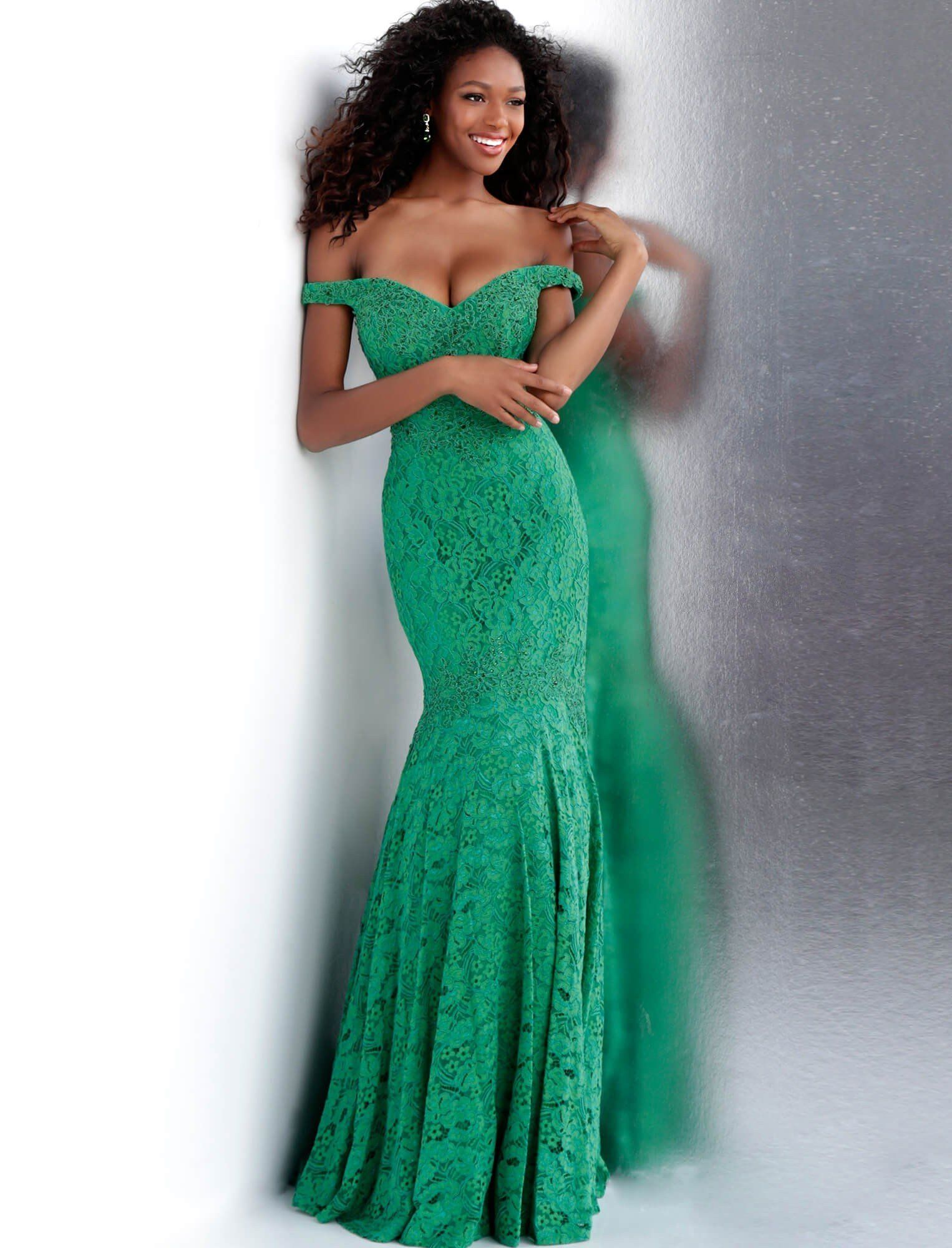f464bc54d8 JVN by Jovani JVN62564 Green Lace off the shoulder fit and flare mermaid evening  gown - prom dress