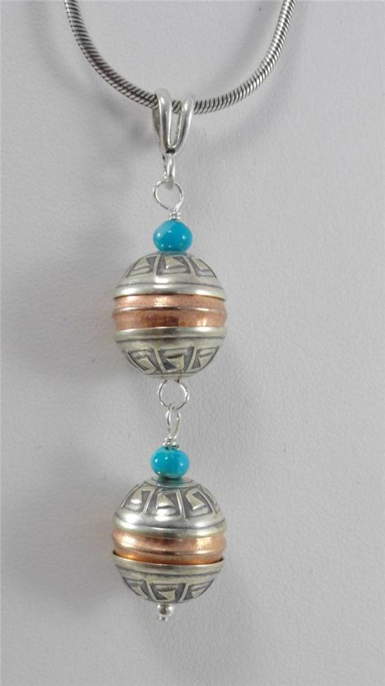 Sterling Silver Bead Copper Turquoise Pendant Double Bead Navajo Native Indian