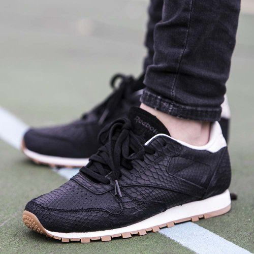 Nice Kicks // Reebok CL Leather Clean Exotics sneakers. #black #snake