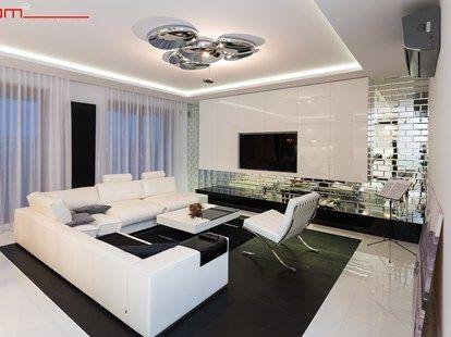 czarno- biały apartament 125m2 - Duży salon, styl nowoczesny - küchenzeile u form