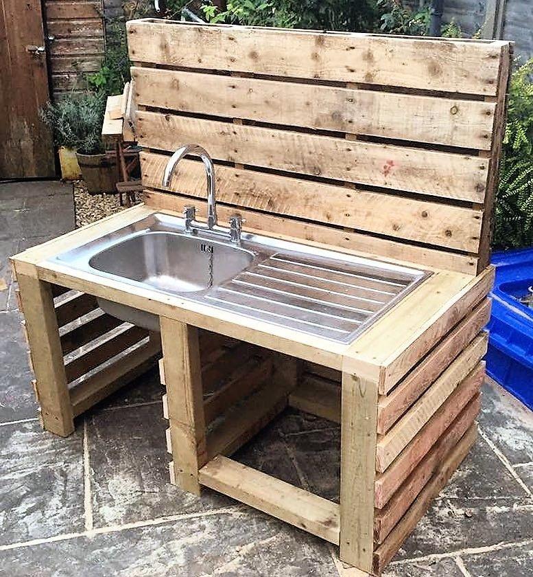 Diy Wood Pallet Furniture: Repurposed Wood Pallet Sink Idea #Diypalletprojects