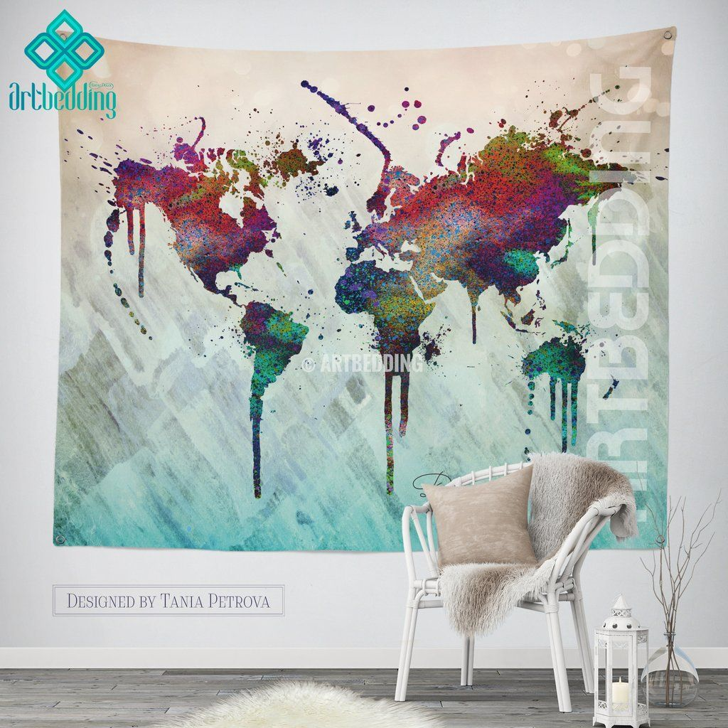 World Map Abstract Watercolor Wall Tapestry Grunge World Map Wall