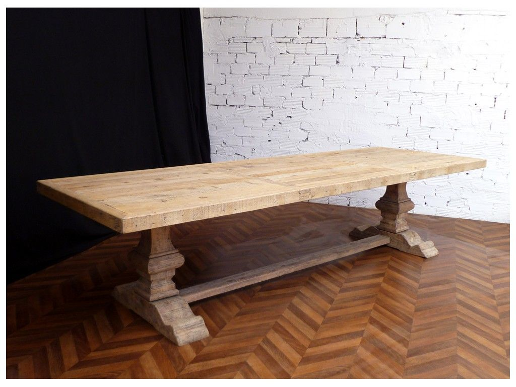 Grande et belle table de ferme monast re en bois brut naturel de 330 cm de lo - Grande table en bois ...