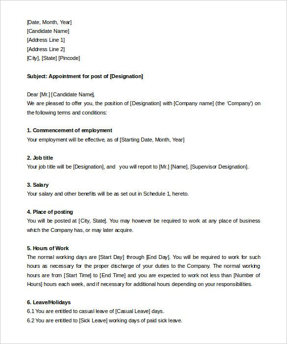 Photos Appointment Letter For Employee Free Resume Samples Hotel
