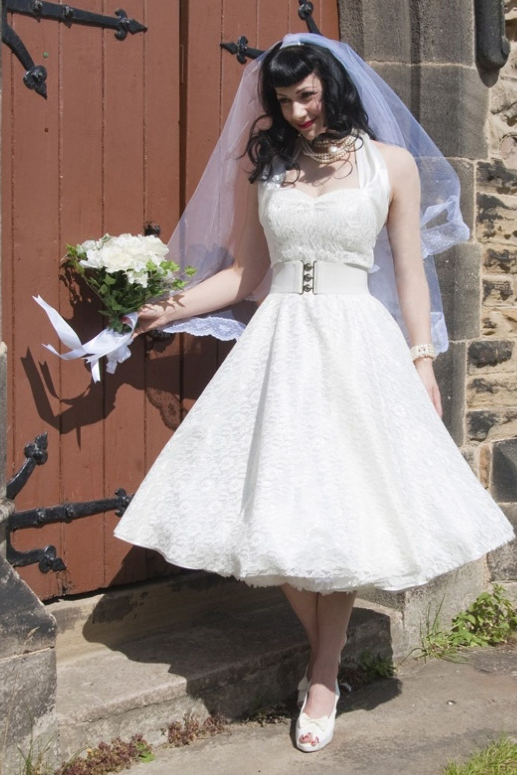 exclusive limited collection this wonderful 1950s halter With swing wedding dress