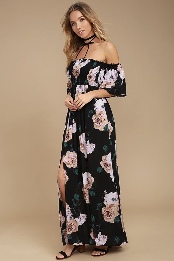 09f582f3d946 Lulus Exclusive! The Primrose Princess Black Floral Print Off-the-Shoulder  Maxi Dress was made for sunny days spent picking wildflowers!