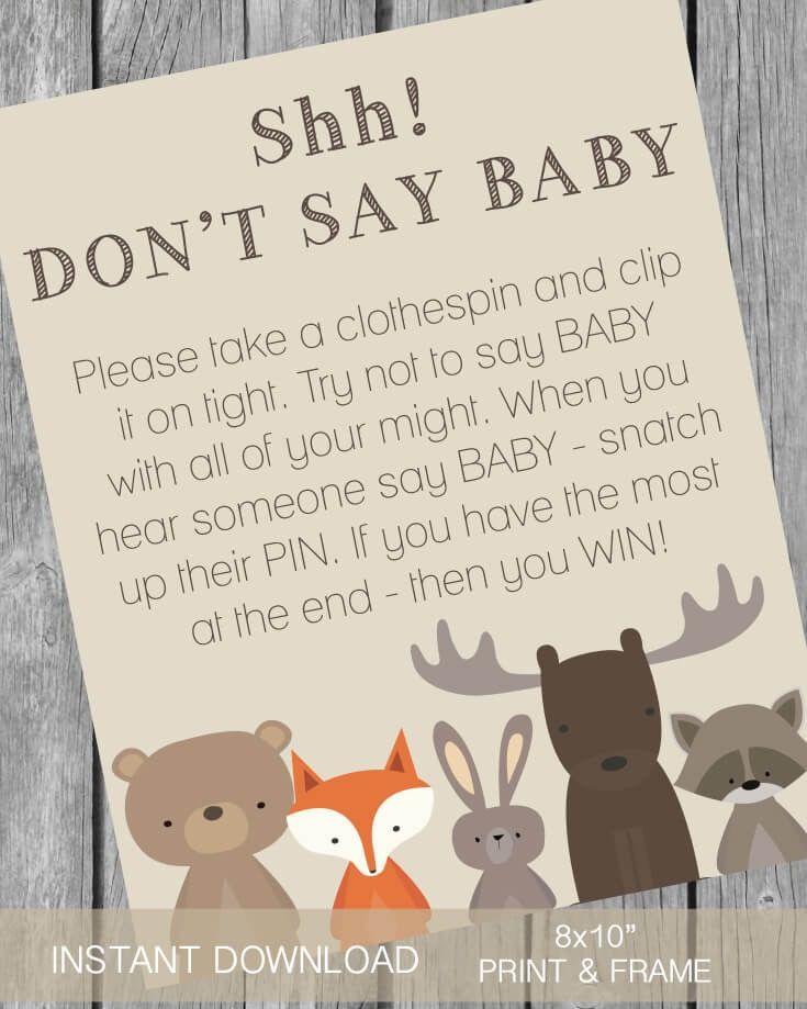 Woodland Animals Printable Don T Say Baby Clothespin Baby Shower Game Fox Baby Shower Baby Shower Woodland Theme Woodland Creatures Baby Shower