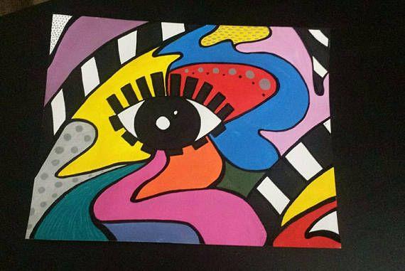 Nuevas Obras De Arte Ojo Abstracto Colorido Inspiracion Acrilico Hoja Tamano 11 X 14 En Pintura Acrilico Utilizado Divert Artwork Acrylic Painting Abstract