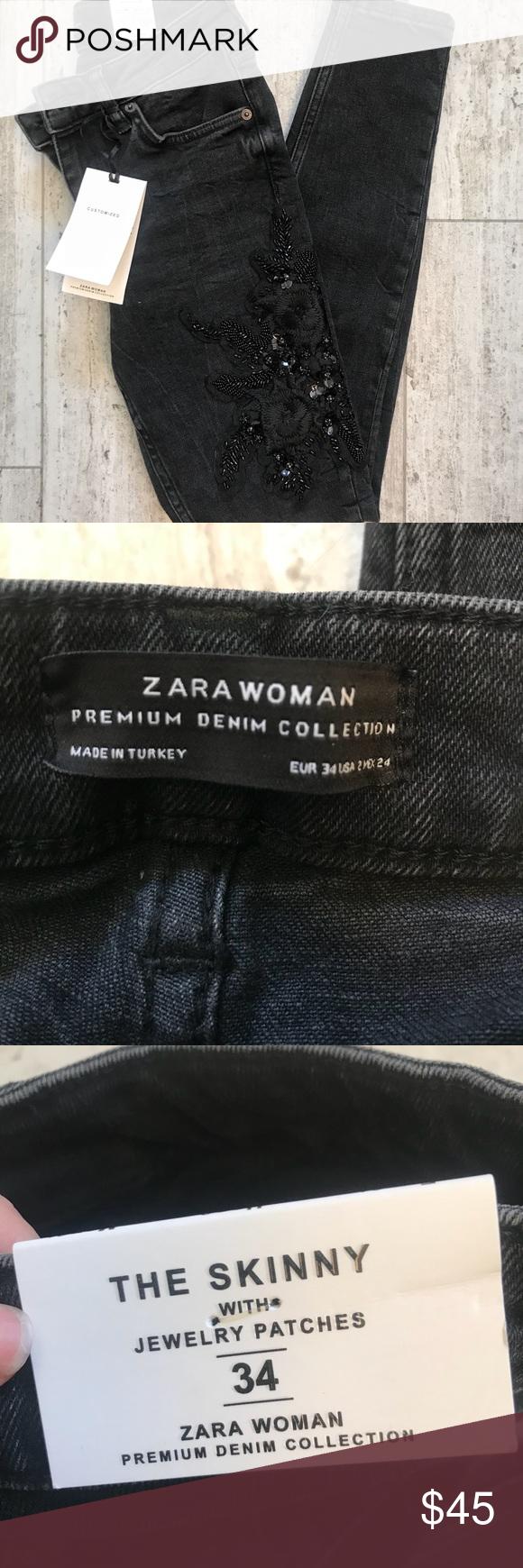 3dd99b11 Zara Women's Custom Premium Denim Jeans Black Brand new with tags ...