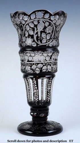 Bohemian Purple Cut To Clear Overlay Glass Vase Ebay Cut To