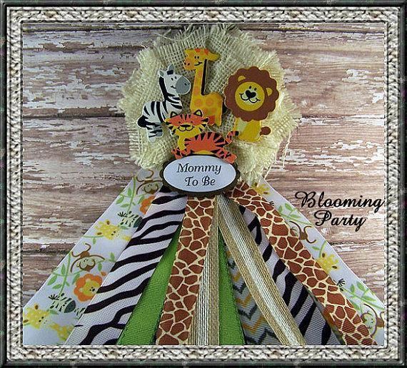 Safari Baby Shower Corsage: Safari Animals Mommy To Be Corsage Baby Shower Corsage