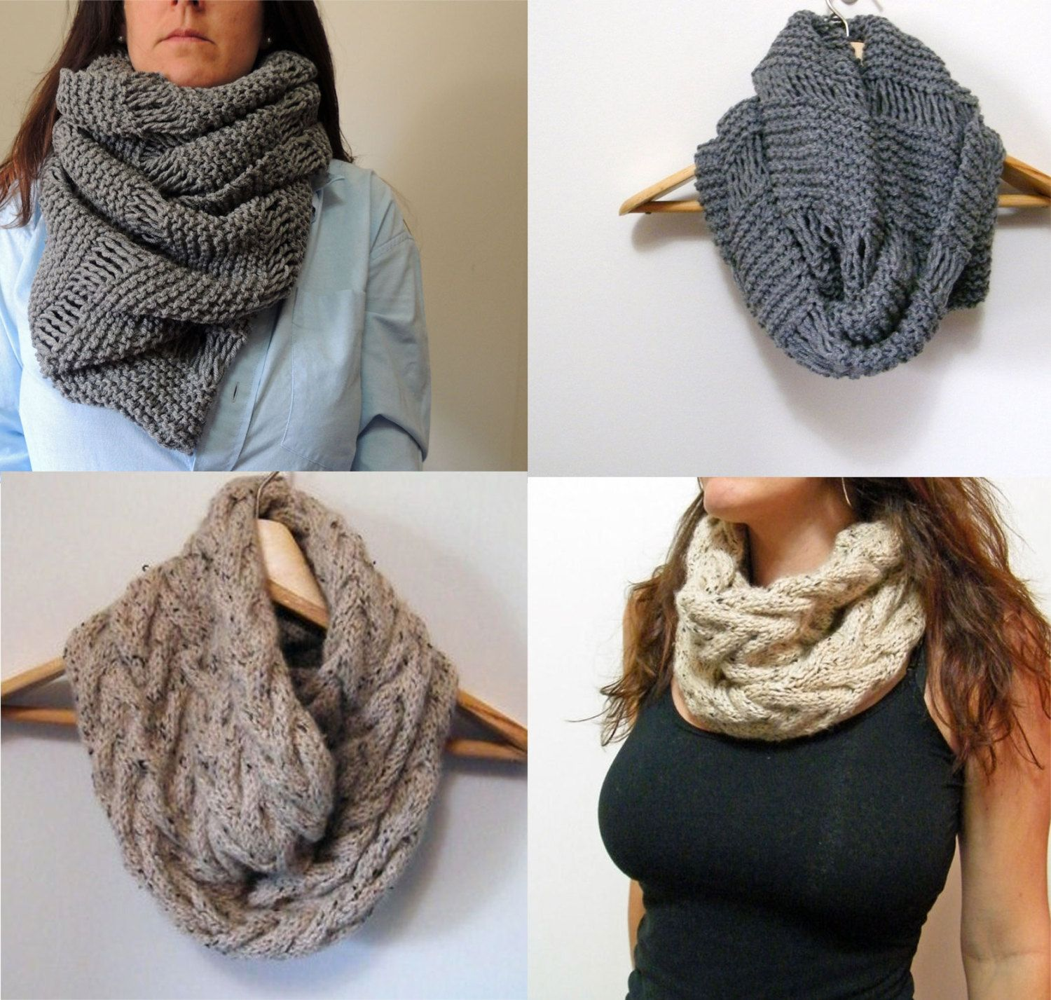2 Knitting Patterns Oversized Cowl Infinity Scarf & By