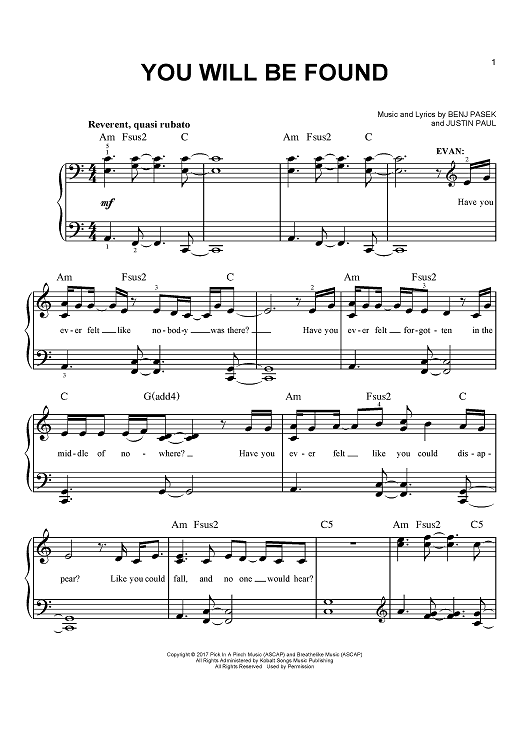 You Will Be Found Sheet Music From Dear Evan Hansen Scored For Easy Piano From Onlinesheetm Piano Sheet Music Free Dear Evan Hansen Dear Evan Hansen Quotes These country song lyrics and chords are for your personal use only. piano sheet music