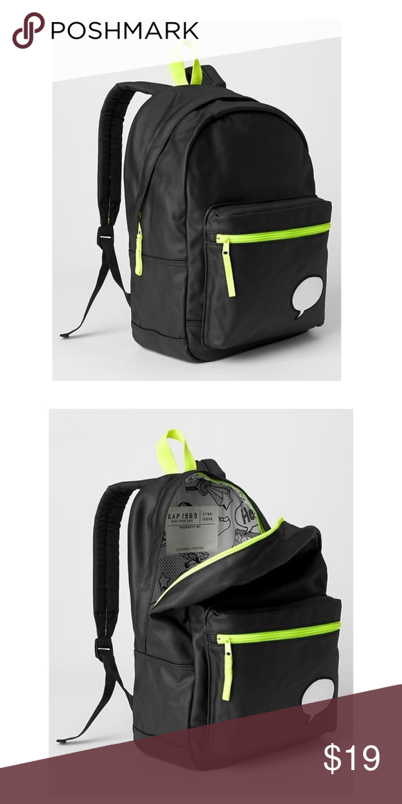 68b40ec83d48 GAP Kids Black xED Customizable BACKPACK Full Size 100% Cotton. Wipe clean.  Imported