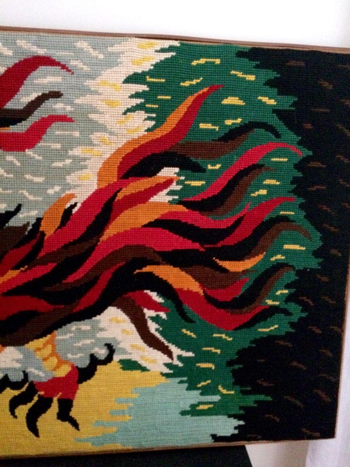 """Detail """"L'oiseau De Feu"""" (Motif de Jean Lurçat typique des années 1970)"""