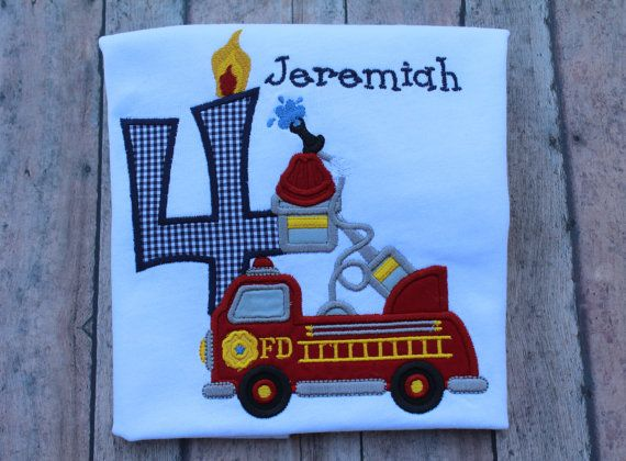 Custom Personalized Firetruck Birthday T Shirt Long or Short Sleeve T Shirt Photo Prop Gift on Etsy, $30.00