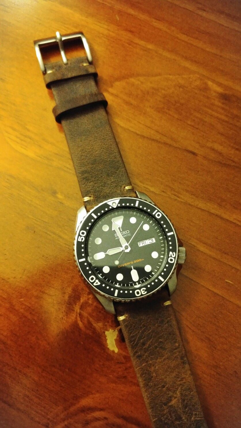 Seiko skx007 with custom brown leather straps ...