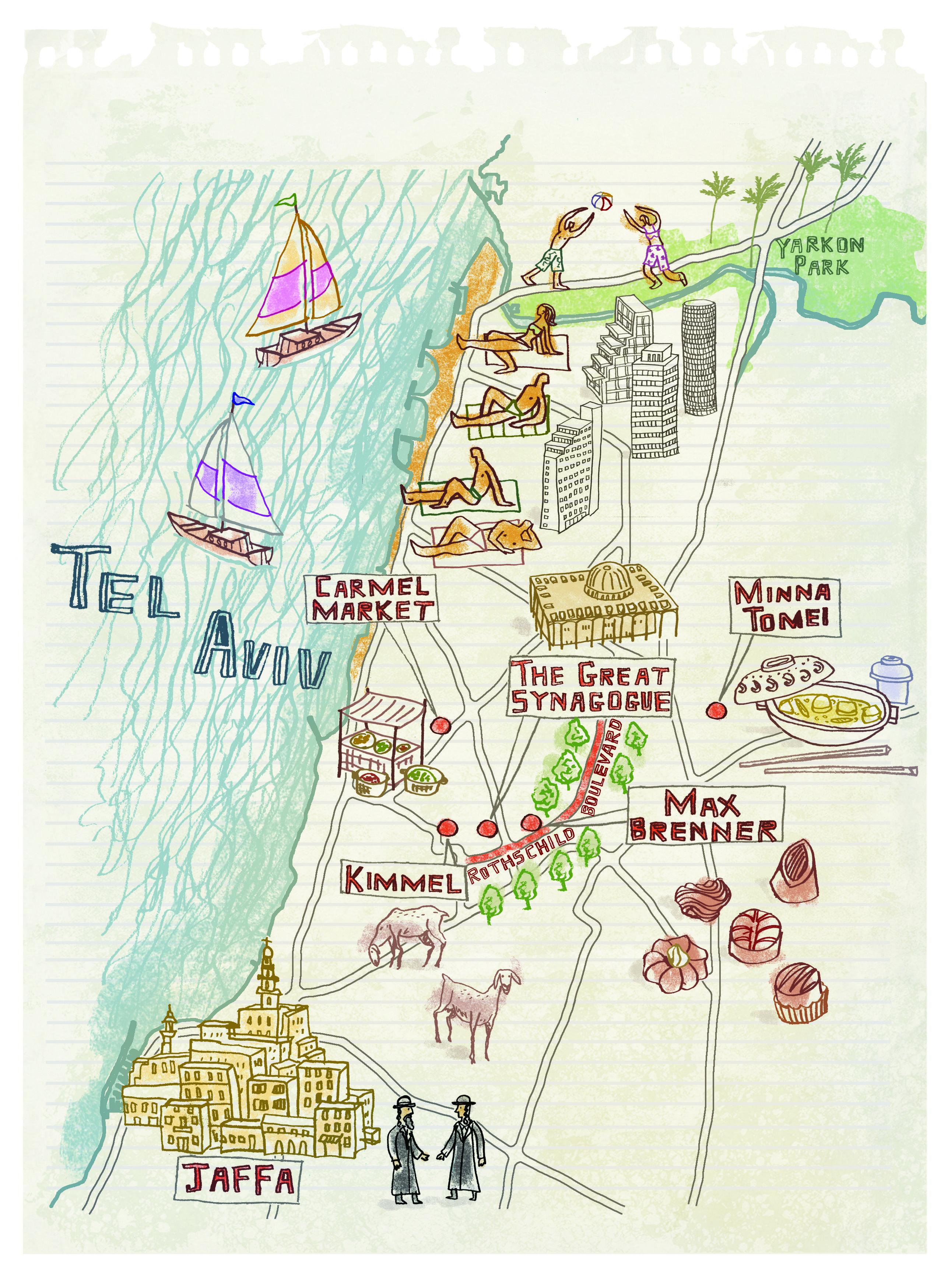 Tel Aviv Jerusalem Karte.Tel Aviv Map By Robert Littleford January 2016 Issue Israel In