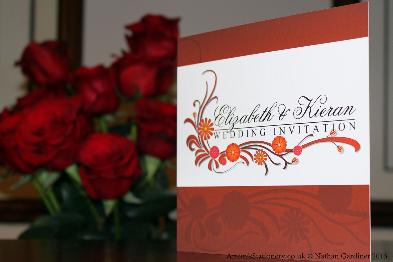 Front of Trifold wedding invitation in dark red from the Sienna ...