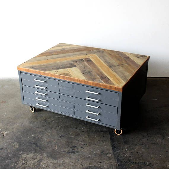 This One Of A Kind Vintage Architects Flat File Cabinet