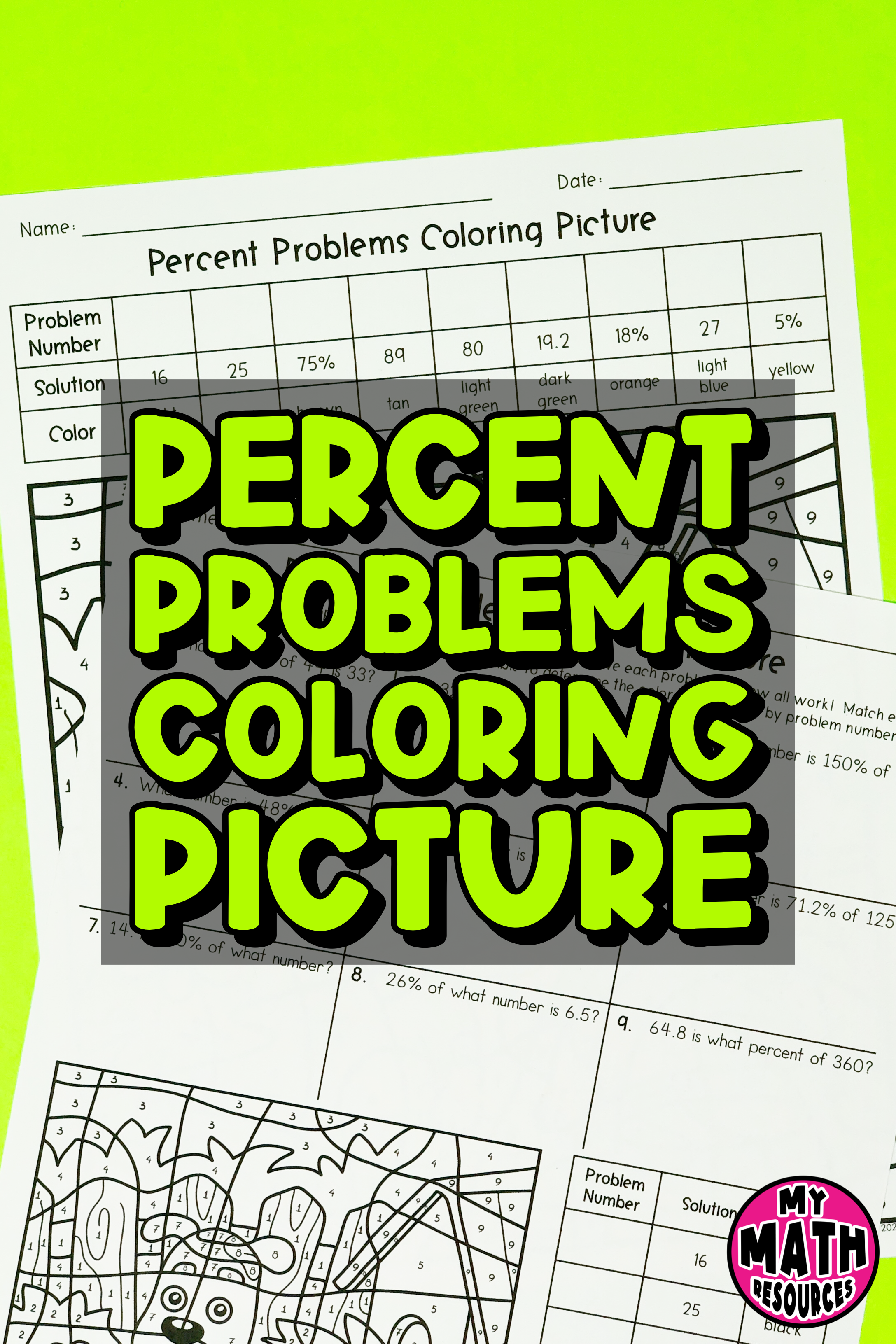 My Math Resources - Percent Problems Coloring Picture Worksheet   7th grade  math worksheets [ 3264 x 2176 Pixel ]