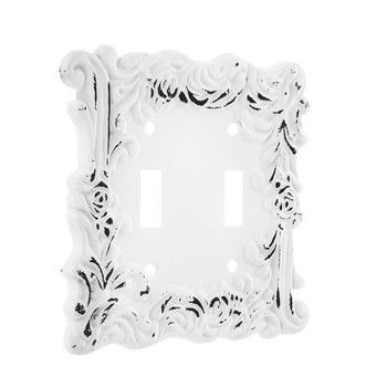 Distressed White Flourishing Metal Double Switch Plate Hobby Lobby 1481522 Shabby Chic Bathroom Distressed White Switch Plates
