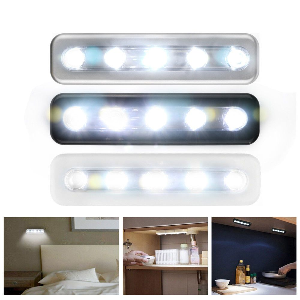 5 Led Battery Operated Cabinet Stick Light Wardrobe Cupboard Drawer Night Lamp Cupboard Lights Modern Led Ceiling Lights Led Night Light