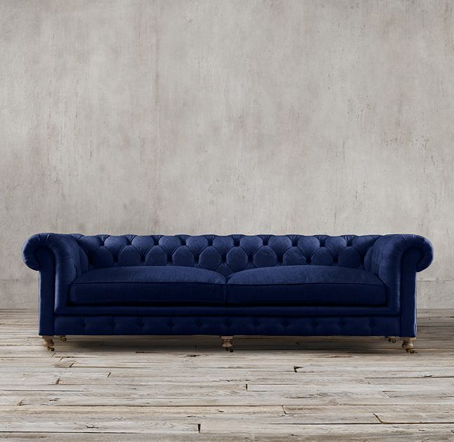 Restoration Hardware Kensington Sofa In Navy Perennials Velvet