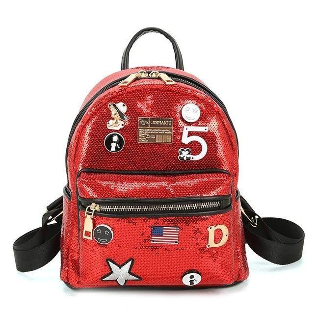 ... Popular School Book Bags PU Leather Small. 2017 Fashion Cute Girls  Sequins Backpack Womens Paillette Leisure School Book Bags Top Quality  Mochila 15e3e91b2acf8