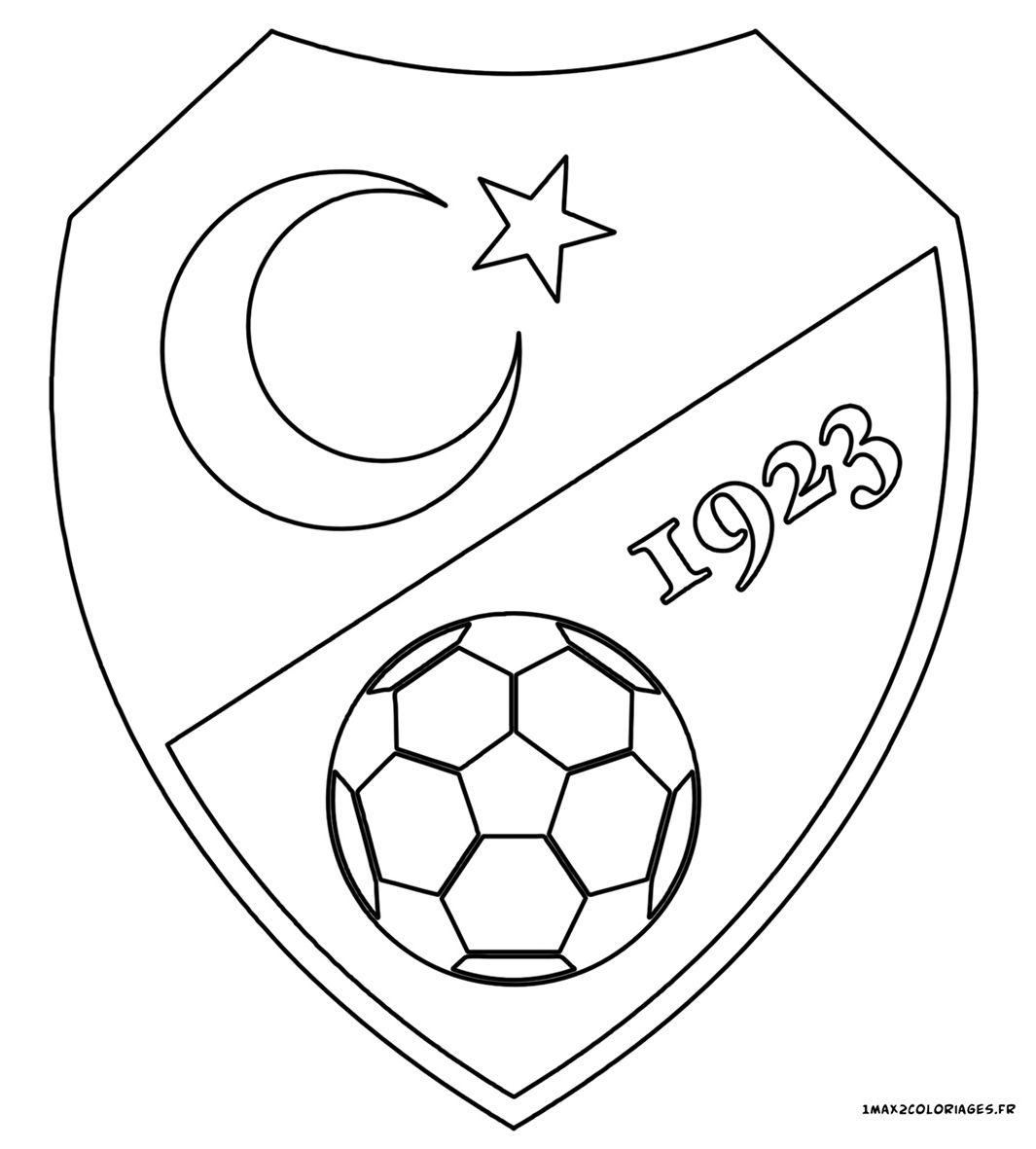 Euro 2016 Logo De L Equipe De Turquie De Foot En Coloriage Coloriage Foot Coloriage Logo Football