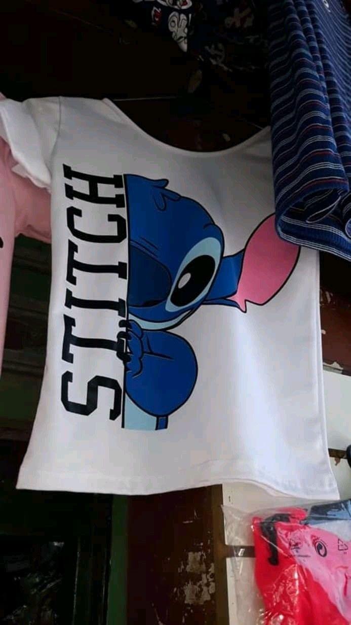 Lilo /& Stitch Ohana Blossom color azul Camiseta