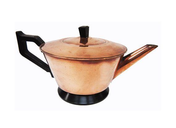 1940s Milesman Copper Teapot Art Deco