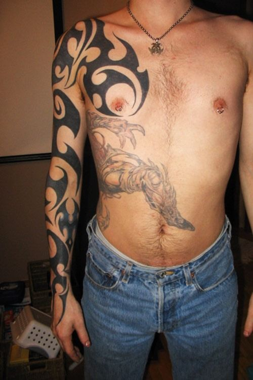 Half Body Tribal Tattoo For Men Tats Pinterest Tattoos Tribal