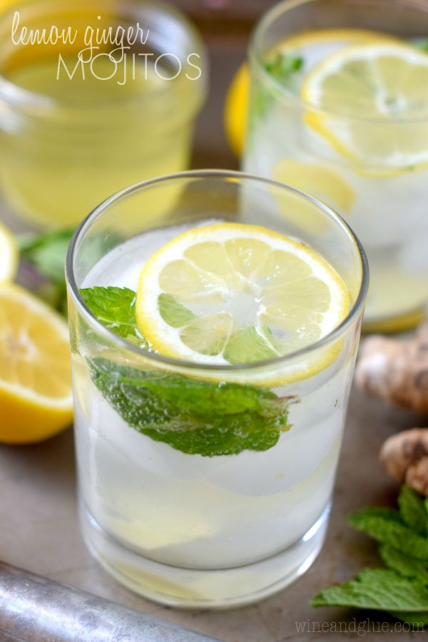Lemon Ginger Mojito Wine Glue Ginger Mojito Mojito Recipe Vegan Drinks
