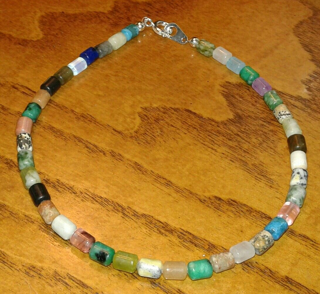 $12 Natural stone & glass beads ankle bracelet