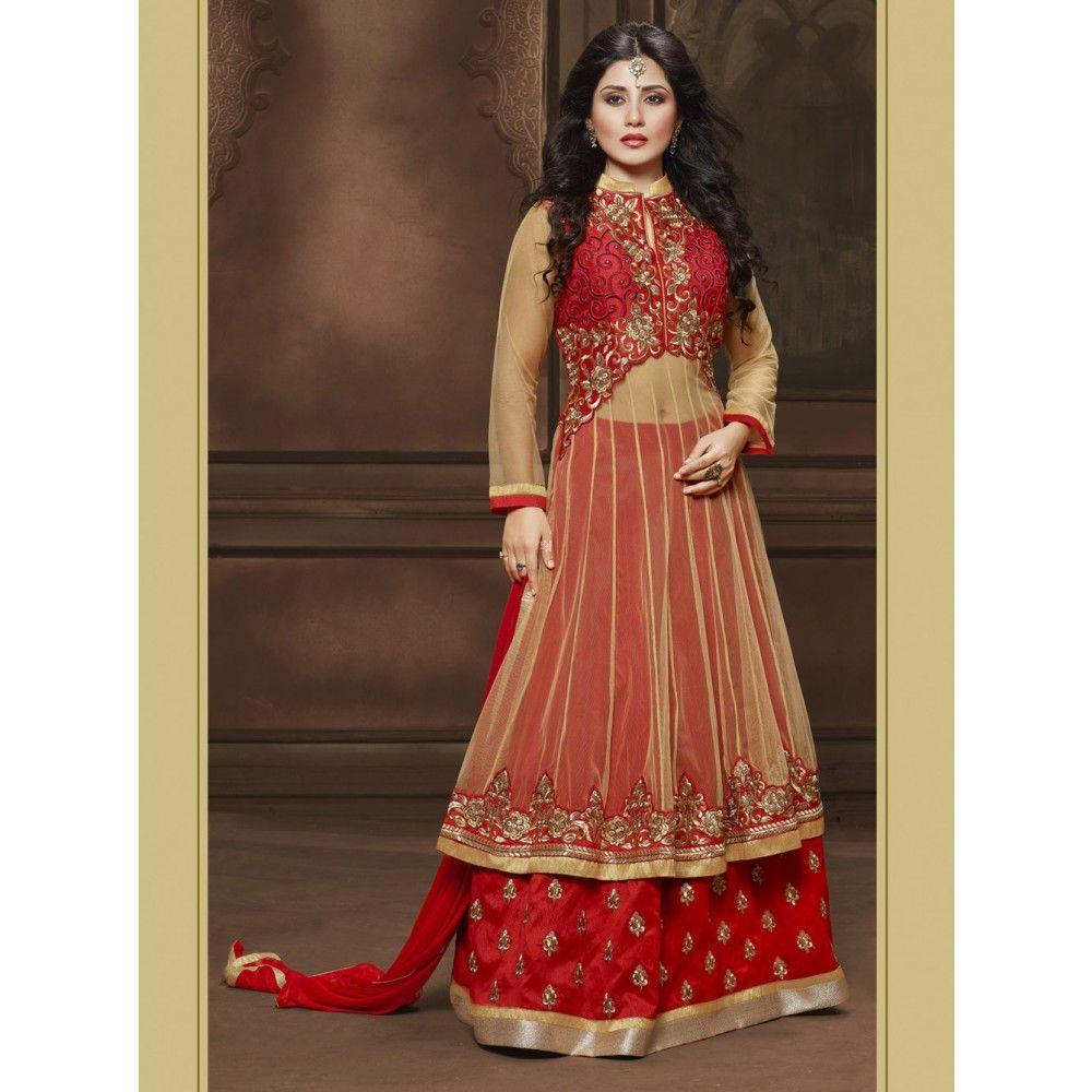 Rimi Sen Maroon and Beige Net #Anarkali Suits With Dupatta- $42.83