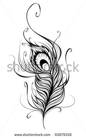 artistically drawn, stylized, vector peacock feather on a white ...