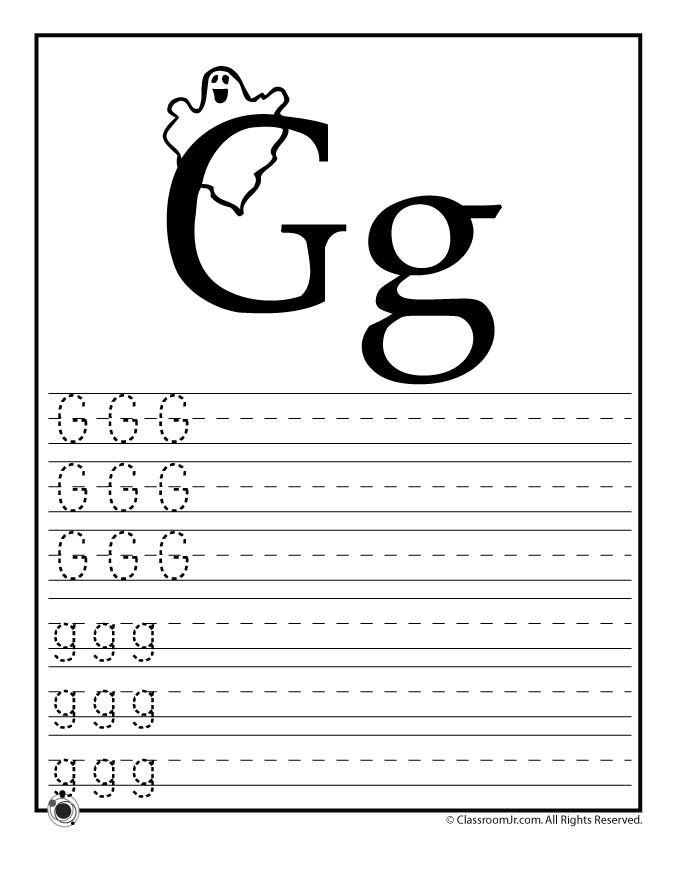 Worksheets Letter G Worksheets For Kindergarten kindergarten letter g writing practice worksheet printable is learning abcs worksheets learn classroom jr