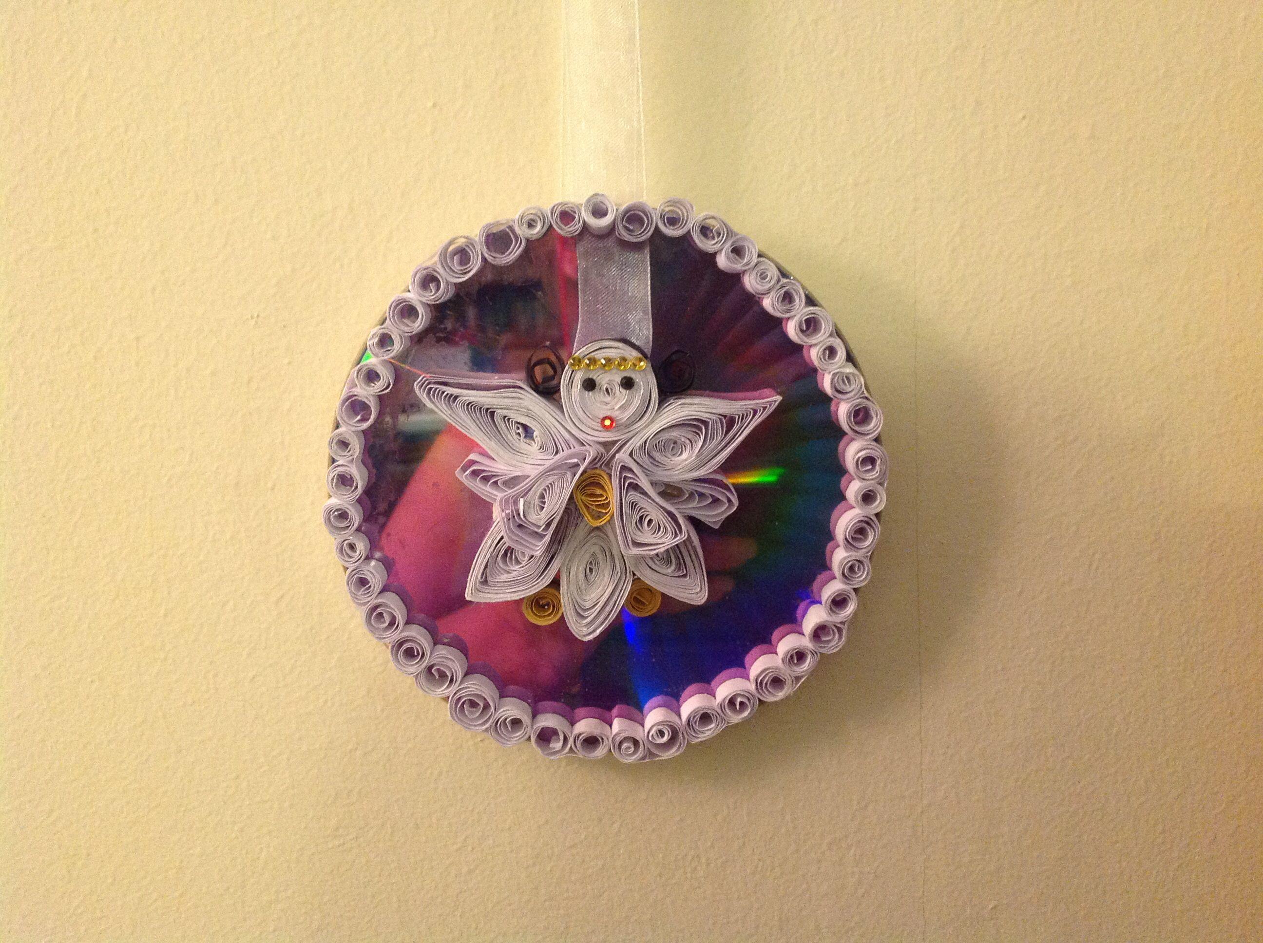 Cd con angioletto tecnica quilling decorazione x l'albero di natale
