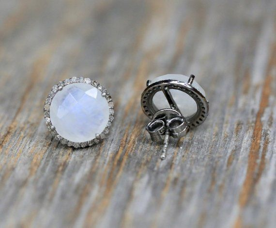 00e0446a3 Moonstone Pave Diamond Round Stud Earring * Large Moonstone Circle Post * Oxidized Sterling Silver* g