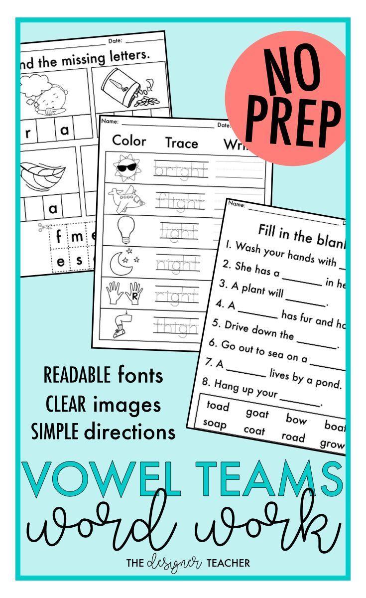 worksheet Ee Spelling Worksheets no prep vowel teams worksheets phonics word work bundle bundle
