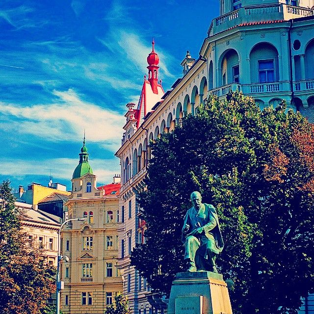 """#Prague #Praha #CzechRepublic #OldTown #architecture #history #street #roofs #statue #park #tree #window #sky #skyporn #clouds #sunnyday #autumn #fall…"""