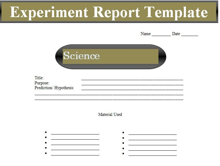 Project Experiment Report Template Doc  Project Management