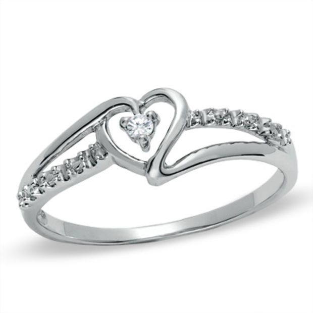Diamond Accent Solitaire Heart Ribbon Ring In 10k White Gold Size