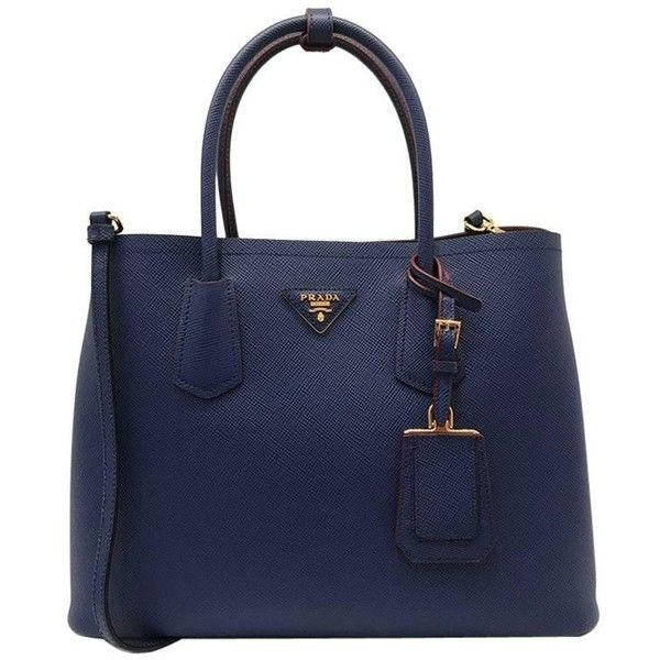 00e3b9e4fd9c ... new style preowned prada saffiano cuir leather double bag tote blue  2150 liked on polyvore cbd5a ...