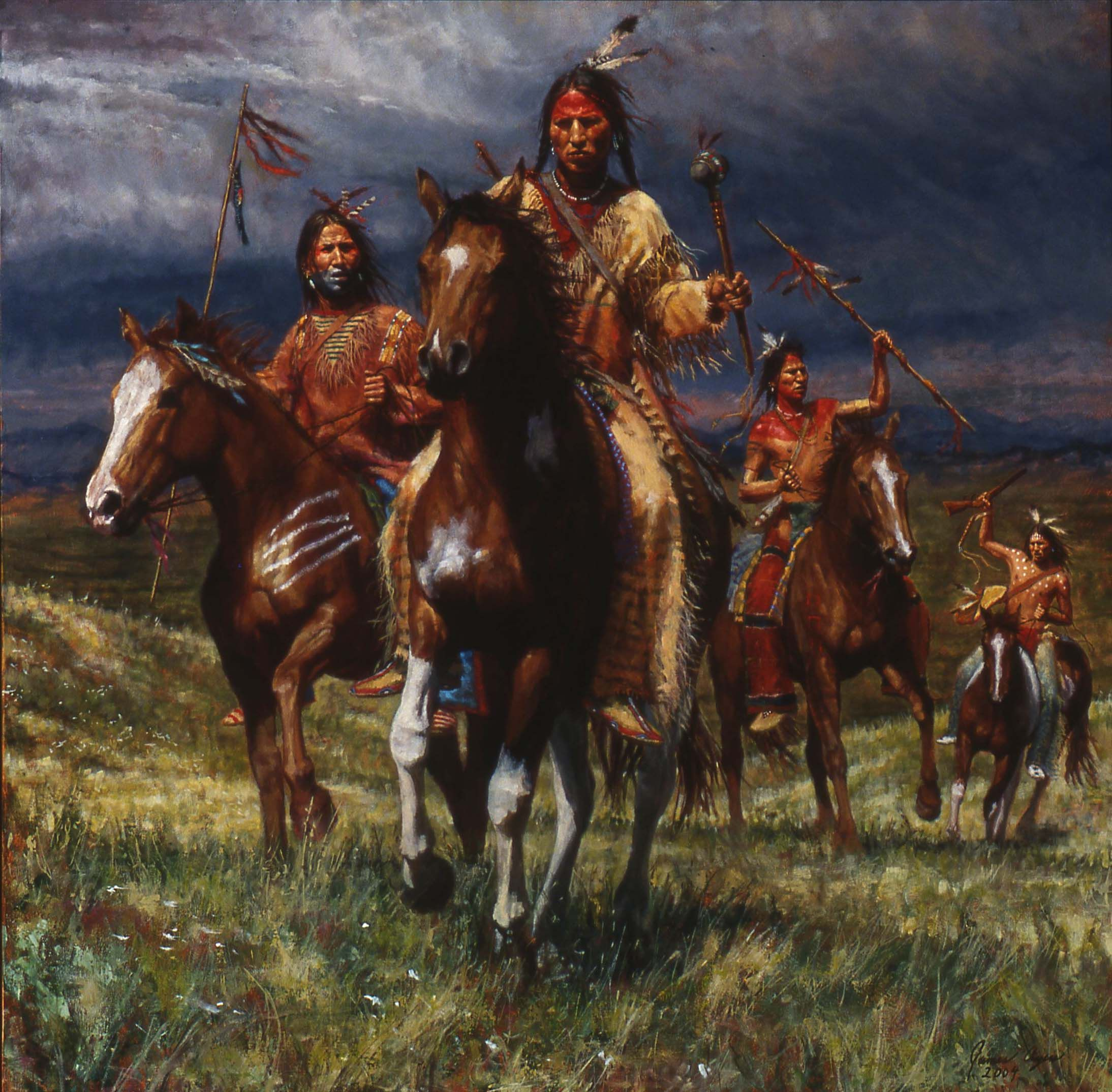 Native American Indian Portrait Sioux Indian War Party Photo Art Print Picture