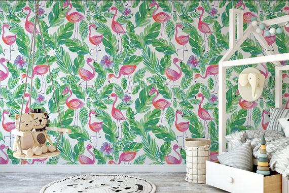 Small Flamingo Palm Tree Leaf Peel And Stick Wallpaper Removable Wallpaper Peel And Stick Wallpaper Wallpaper Rolls