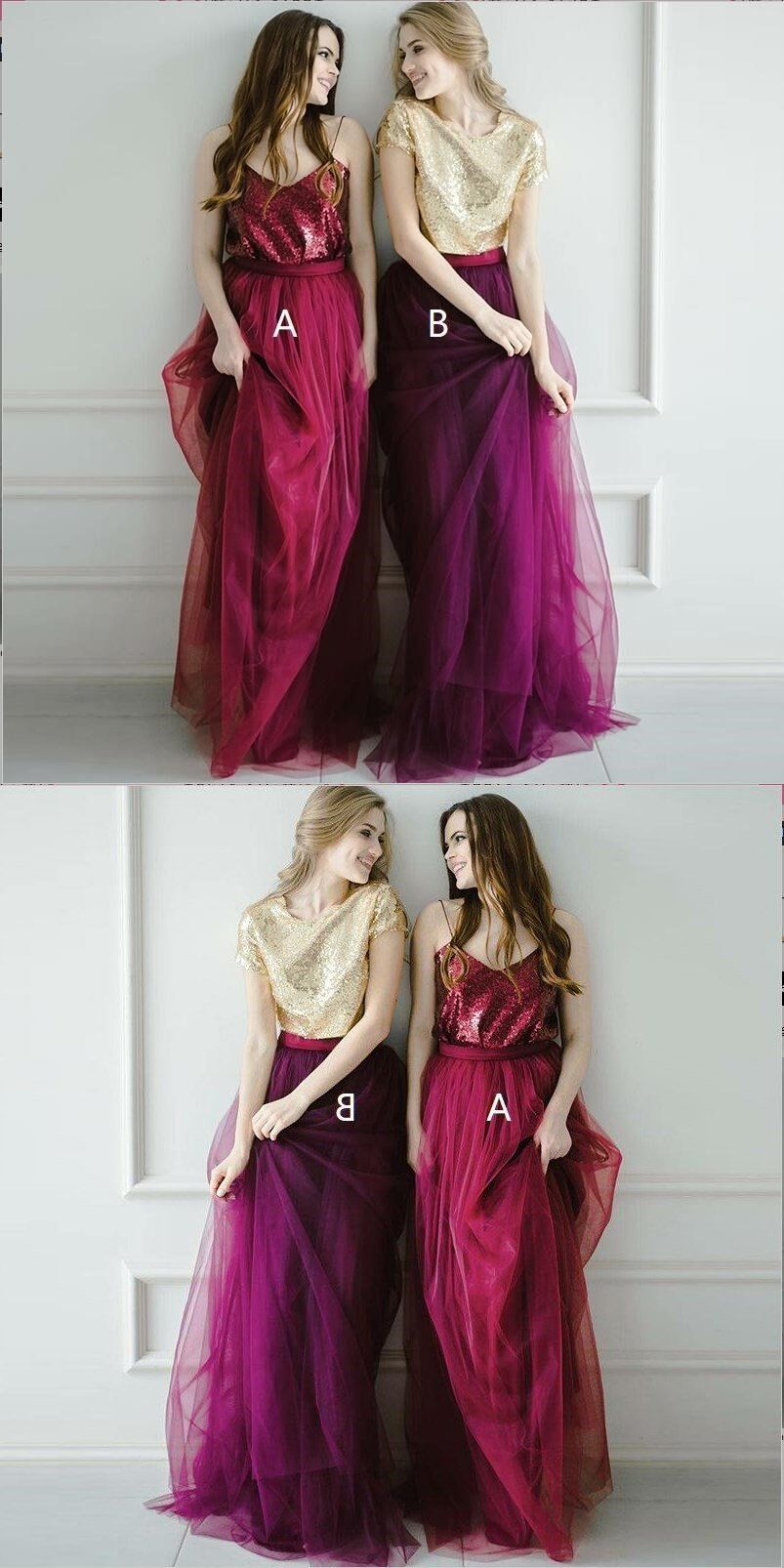 2196de48dd Two Pieces Tulle Sequin Sparkly Pretty Young Spaghetti Straps Dark Red Gold Burgundy  Bridesmaid Dresses