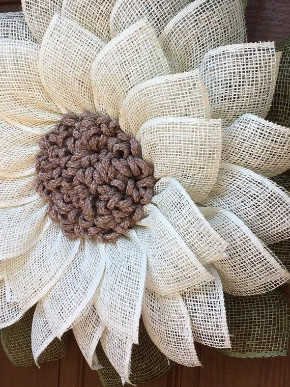 Photo of Sunflower Wreath, Burlap Sunflower Wreath, Peasant Wreath, Rustic Wreath, Front Door Wreath, Shabby Chic Decor