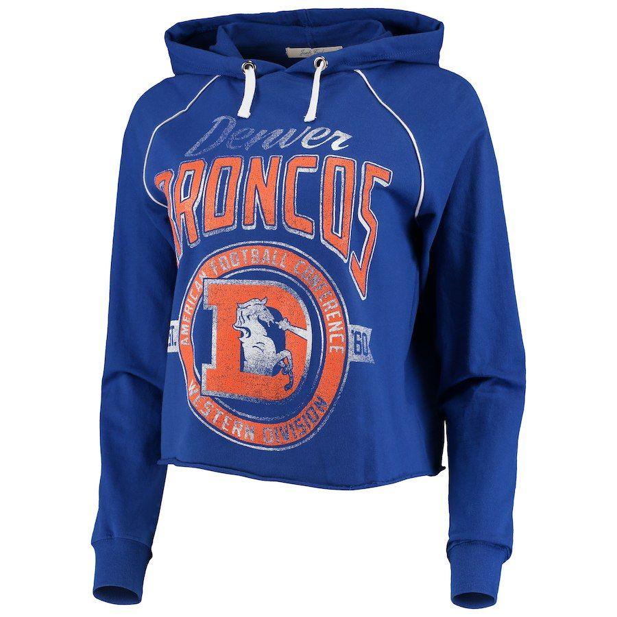 174fa4471d4 Women s Denver Broncos Junk Food Royal Team Logo Cropped Raglan Pullover  Hoodie